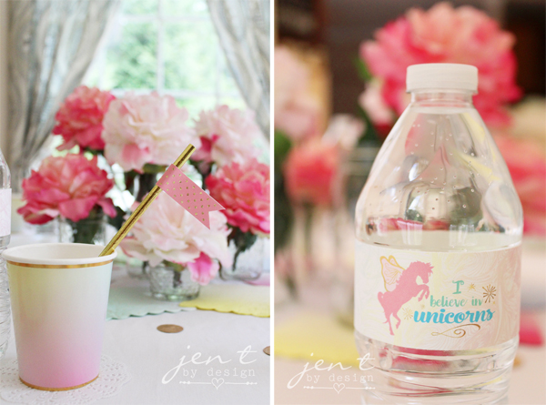 Unicorn Birthday Party Ideas - Rainbow Ombre Cups, Gold Foil Straws, Pink and Gold Straw Flags, and Unicorn Water Bottle Labels