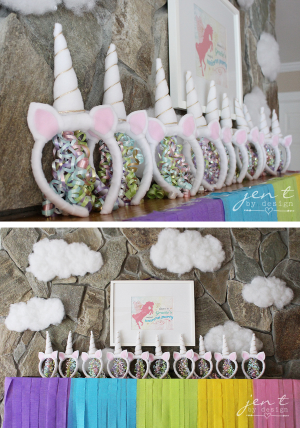 Unicorn Birthday Party Ideas - Rainbow Party Decor and DIY Unicorn Headbands - JenTbyDesign.com