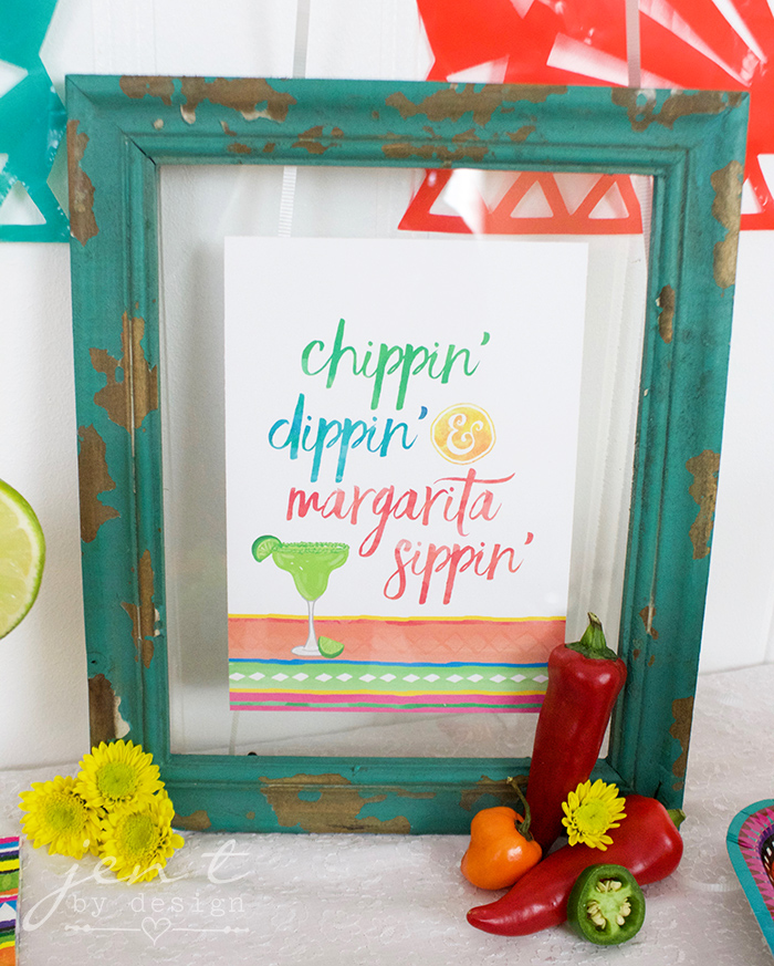 Fiesta Party Sign - Chippin,' Dippin,' Margarita Sippin' - Jen T by Design