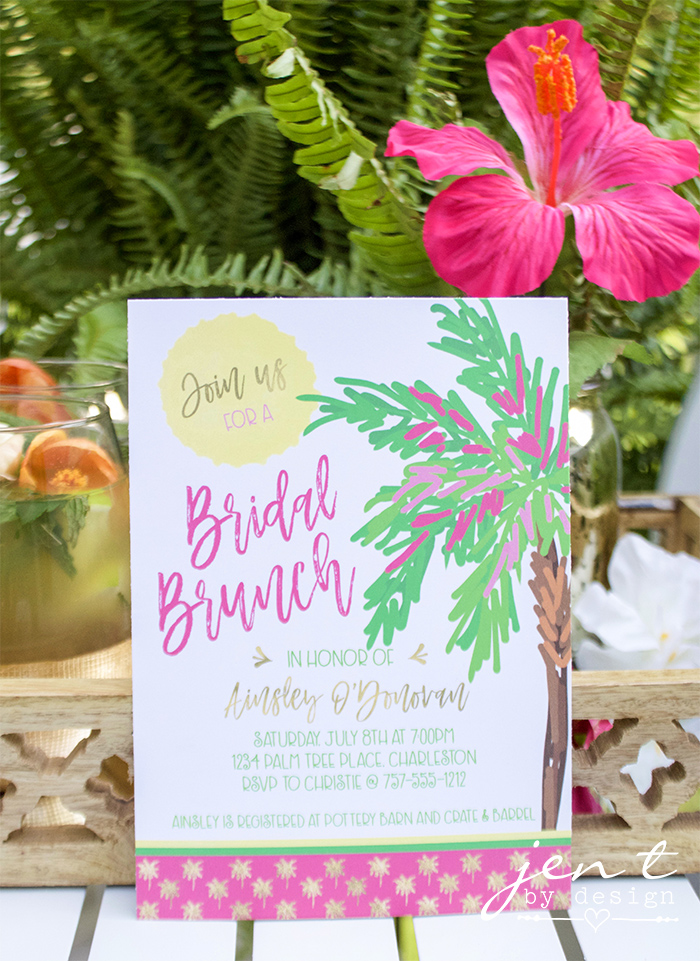 Tropical Bridal Shower Ideas - Palm Trees and Paradise Brunch Invitations