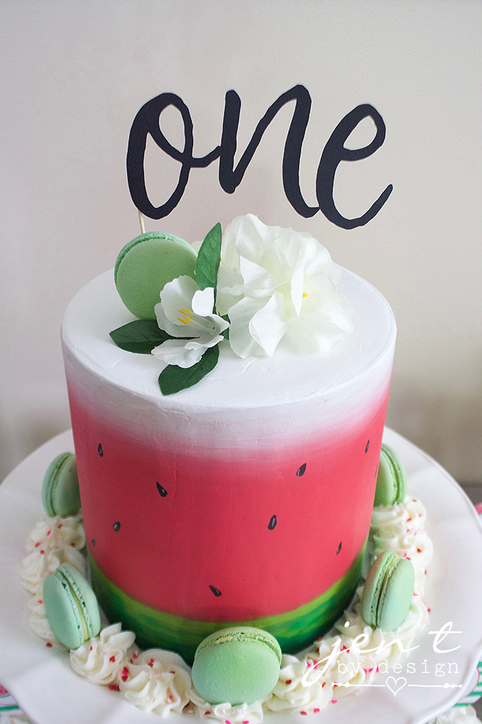 Watermelon First Birthday - Watermelon Cake - Cricut Cake Topper