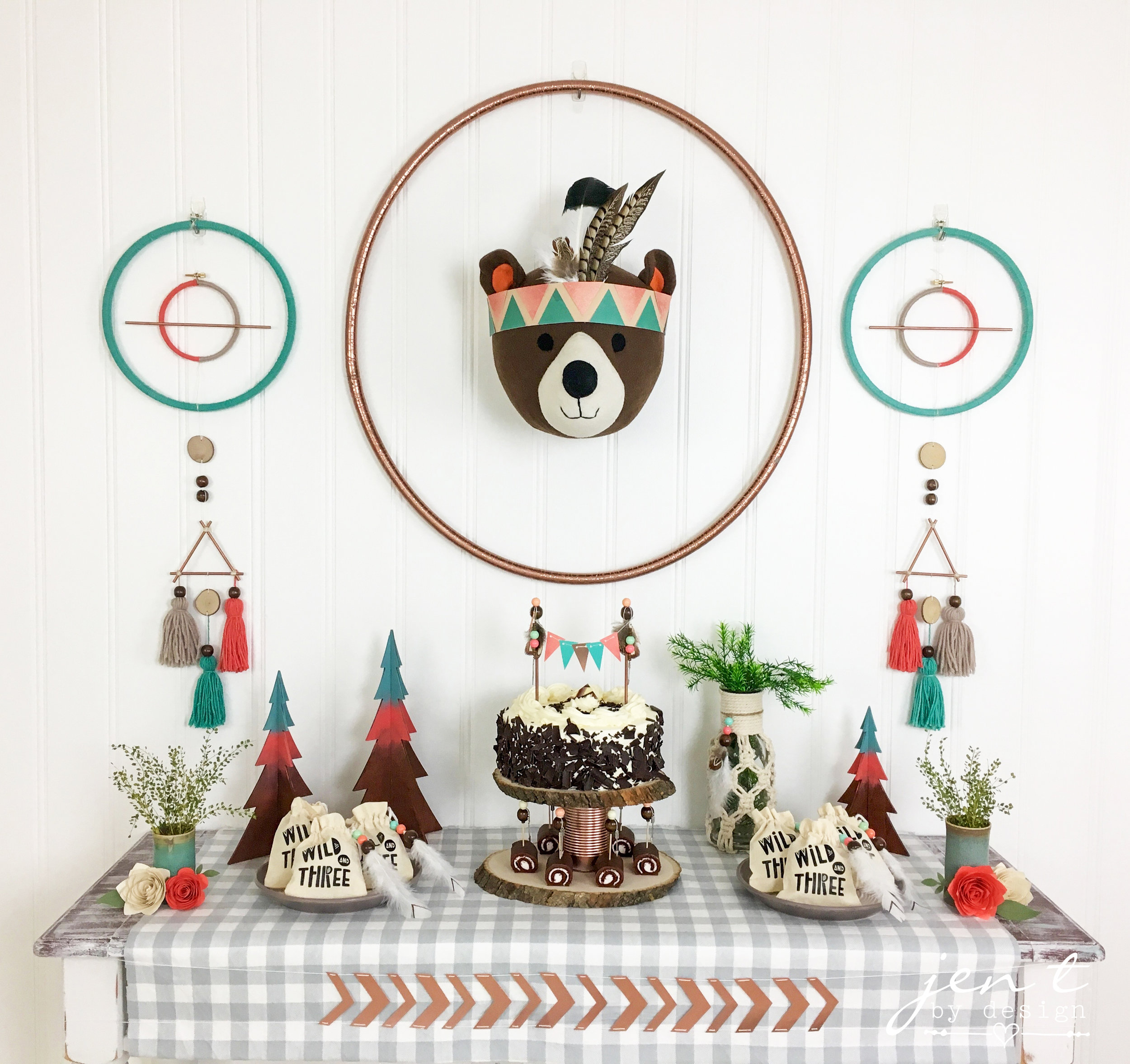 Wild and Three Woodland Tribal Birthday - Jen T by Design