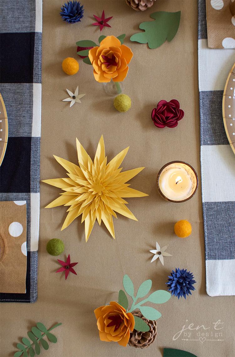 DIY Thanksgiving Table Decorations with Cricut - Jen T by Design #ad #CricutMarthaStewart #MadeWithMichaels #CricutMade #Cricut