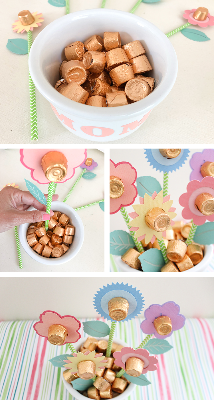 DIY Mothers Day Candy Flower Bouquet with Cricut and Martha Stewart | Jen T by Design | #cricut #cricutmarthastewart #cricutmade #madewithmichaels #ad