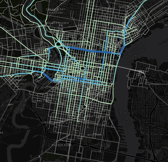 6 months of CyclePhilly trips. Map created by the DVRPC's Chris Pollard and William Tsay, among others.