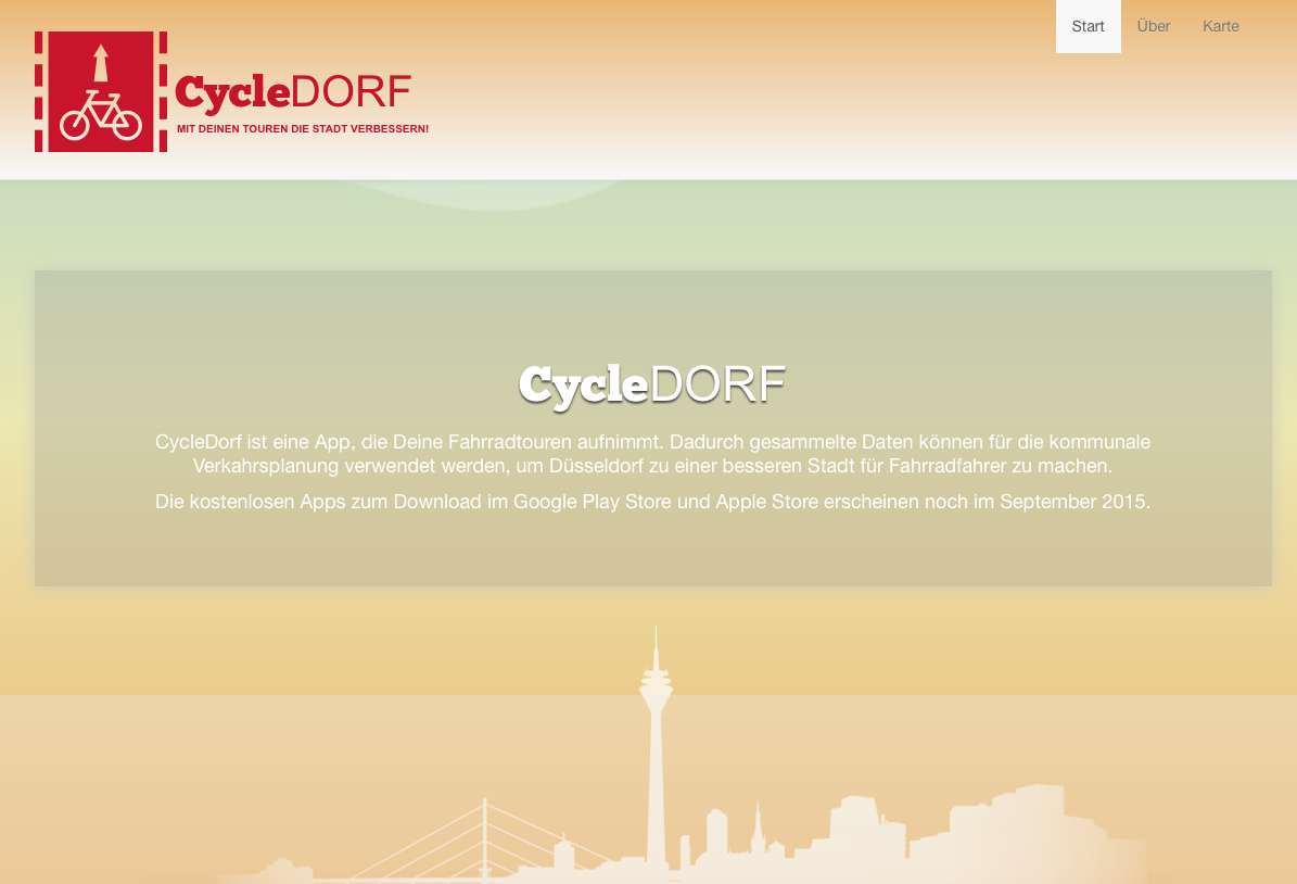 CycleDORF is a collaboration between  Code for Philly  and  DataLook  to redeploy  CyclePhilly  in Dusseldorf, Germany.  I worked on coordinating the redeploying efforts, setting up the website and rebranding efforts.  The branding design was done by the Delaware Valley Regional Planning Commission's  Stephanie Lipartito .