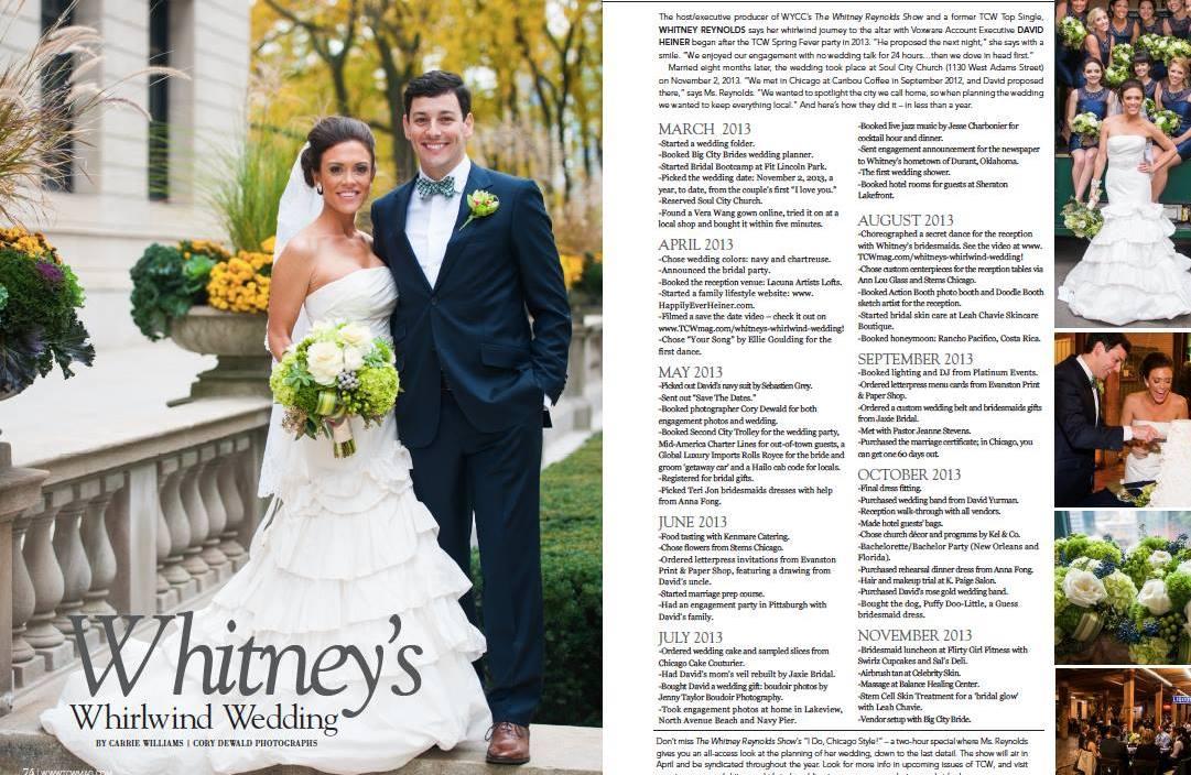 Whitney and David's wedding spread in TCW Magazine