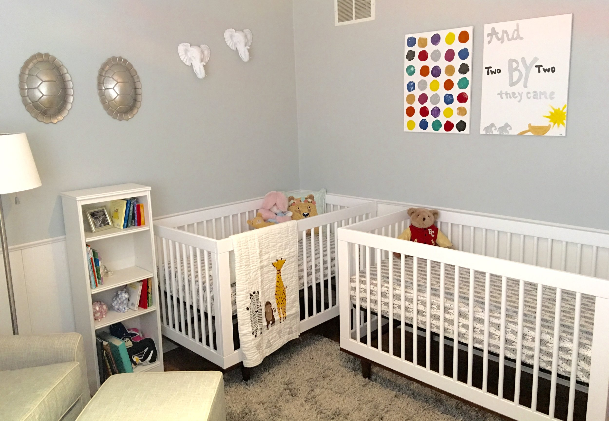 """The twins """"Noah's Ark"""" Nursery (And two by two they came). I hand painted the signs."""