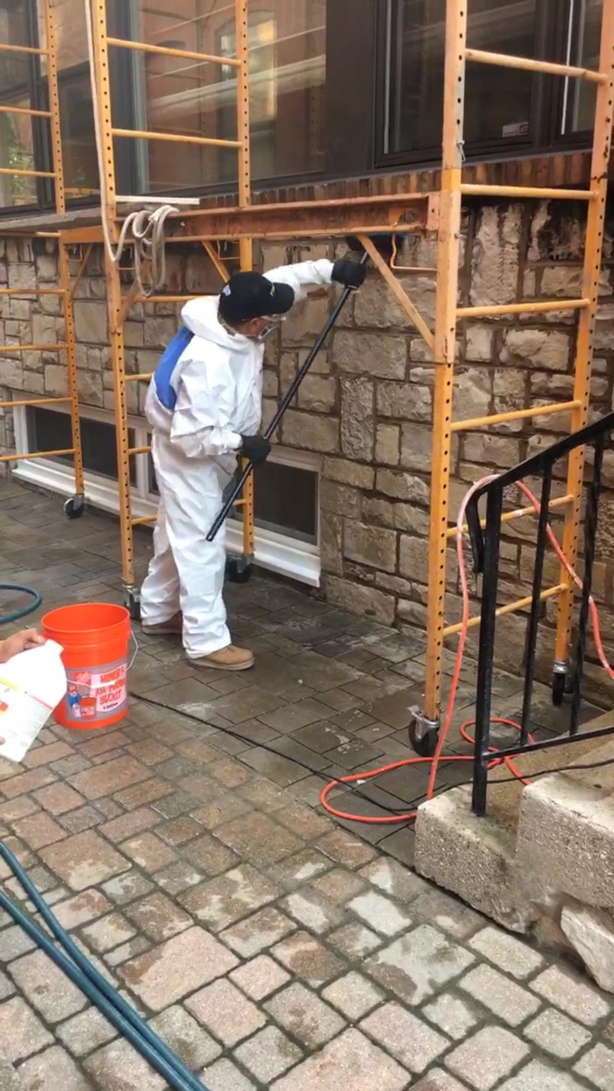 Scaffolding Up & Acid Washing stone begins