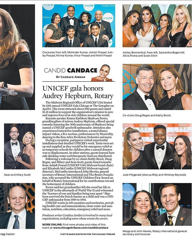 I recently had the opportunity to interview #AudreyHepburn granddaughter & support @unicef in the same evening! What a night!!! BIG XO to @candidcandace & @chicagotribune for including me!