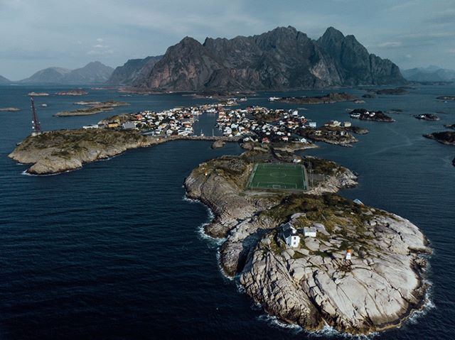 The magical football field of Henningsvaer . Mavic Air . #wanderlust #dji #aerialview #dronestagram #droneoftheday #birdseye #drone #dronelife #drones #aerialphotography #dronephotographhy #fromwhereidrone #mountain #nature #landscapephotography #landscape #norway #ariel #lofoten #football #nordicscollective #greatnorthcollective