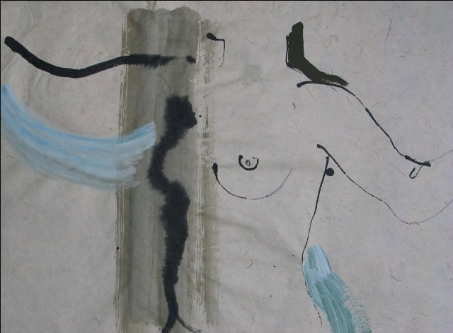 Dance , Indian ink and acrylic on handmade paper, 2009