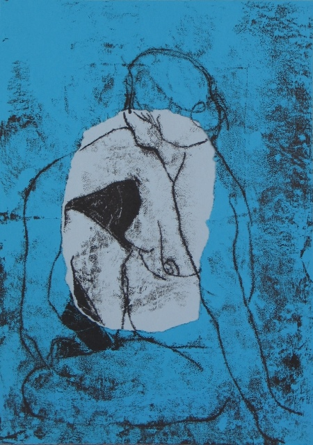 Blue Nude , unique monotype and torn paper, 2011