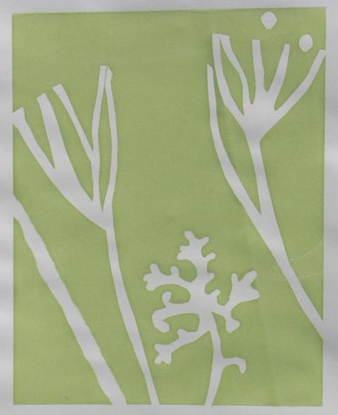 Seaweed form I , unique silkscreen, 2012