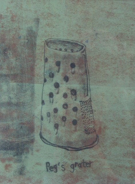 Peg's grater, mixed media, 2010