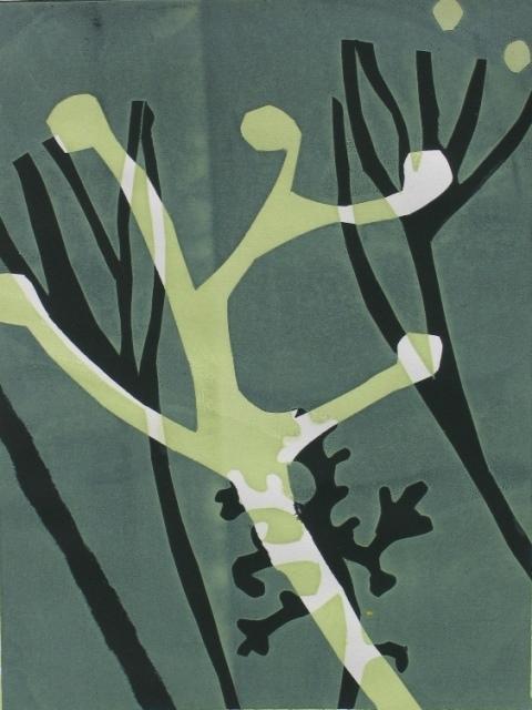Seaweed form lV , unique silkscreen 2012