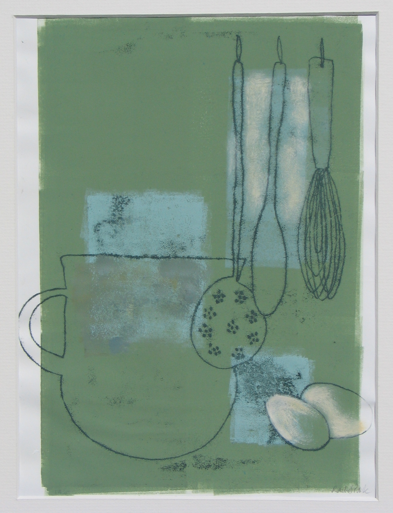 Kitchen Quiet ll , unique monotype and mixed media, 2014