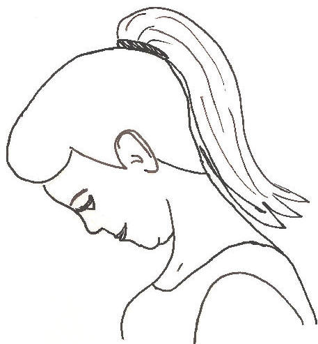 This is an awkward internet drawing of neck flexion.