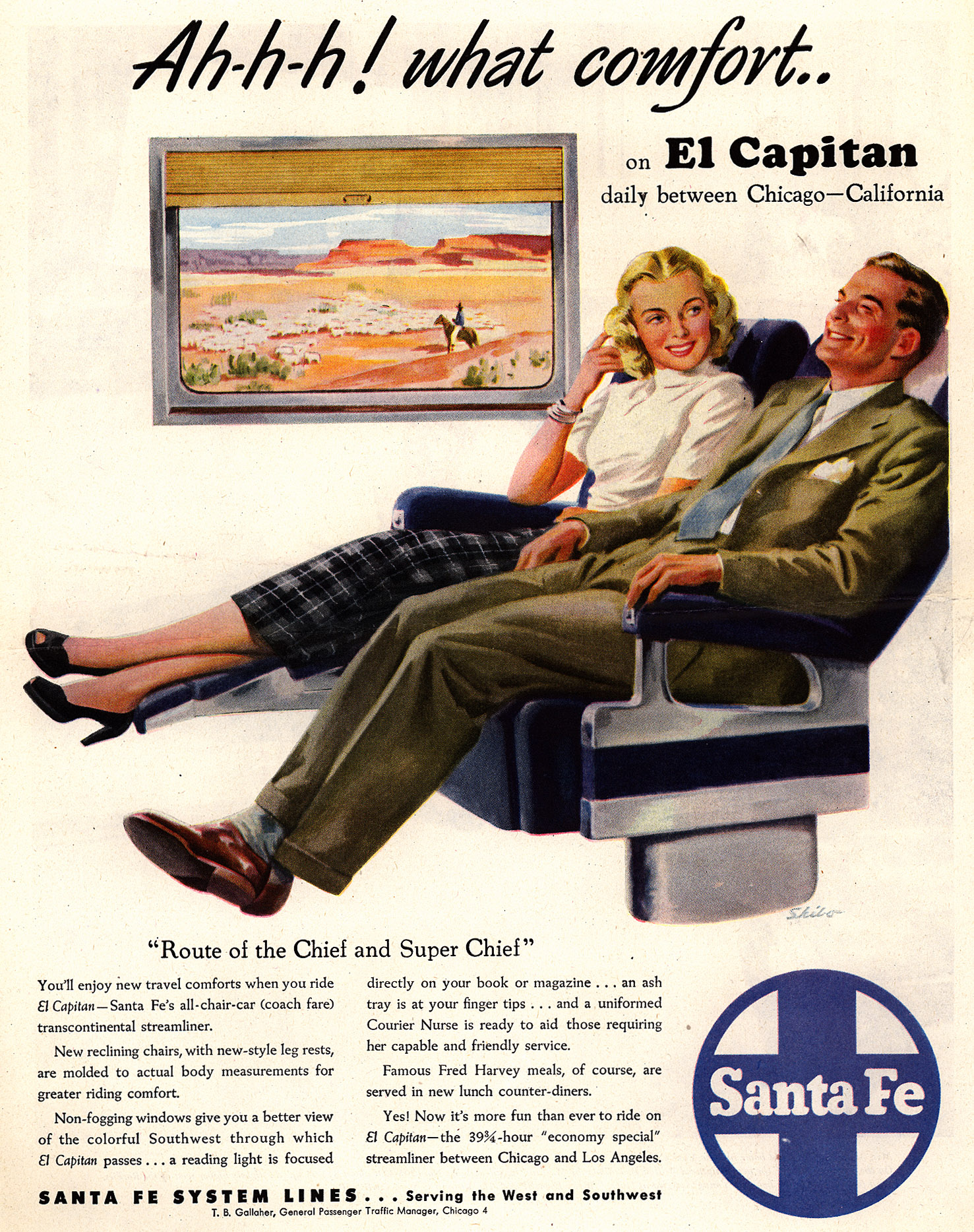 "1948 Washington Post (I think) advertisement for ""Comforts"" of reclining."