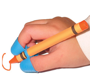 This is called the writing claw and can help children learn the fine motor skills to hold a crayon/pencil/etc.