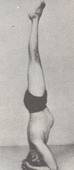 BKS Iyengar in supported headstand.  Iyengar's teachings touted shoulderstand and headstand as the most important asanas, yet, they are precarious, and perhaps should not be held for as long a duration as has been taught in the last 50 or so years.