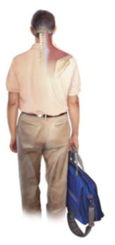 See how this man's right shoulder is being pulled down with his bag? In addition, his right arm is adjusting to carrying weight, and if he favors the right side only, may create a structural imbalance. Moral of the story- switch sides!