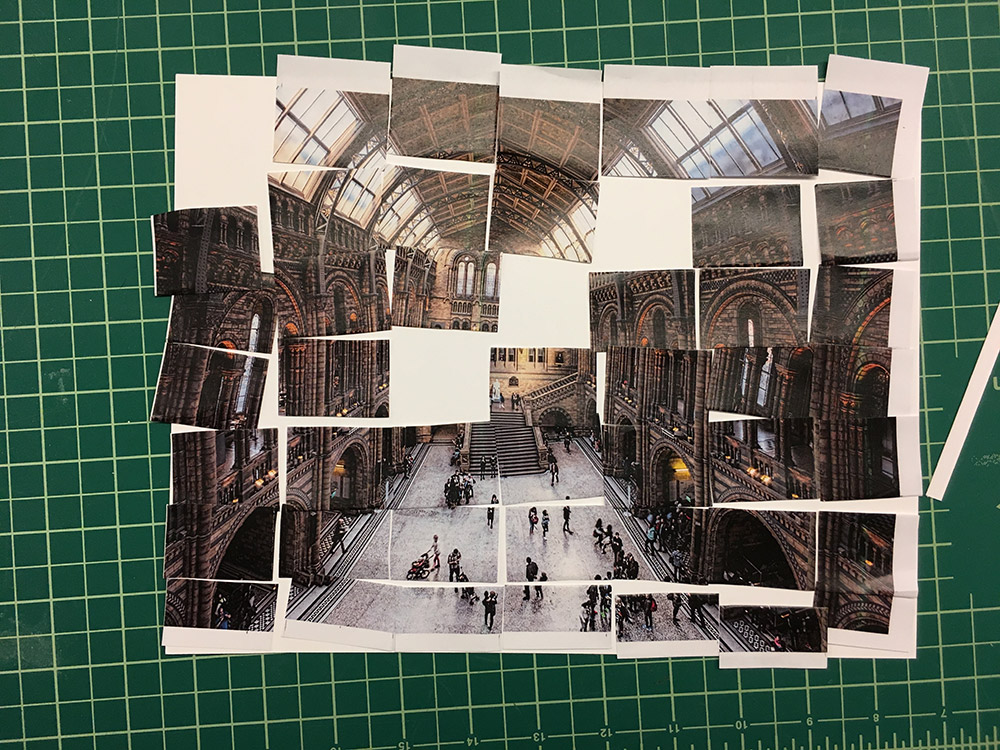We wanted to create a site that felt 'lived in'. To that end we printed out multiple pictures of Hintze Hall and began to cut them up to build deeper scenes.