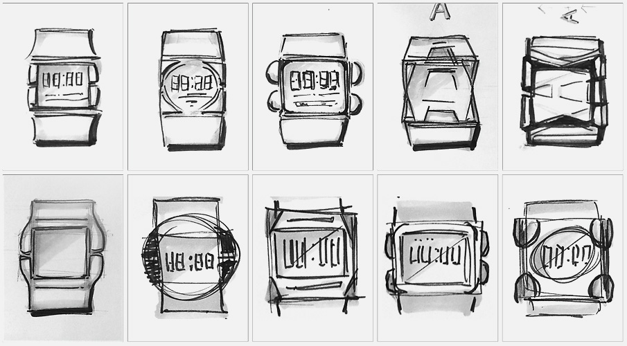 Product design sketches for kids' wearable safety device.