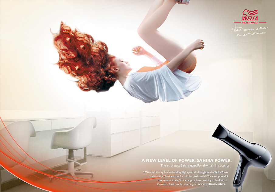 Ad concept for Wella Professionals, Sahira Power blow dryer shows just how elegant life can be with 2000 watts.