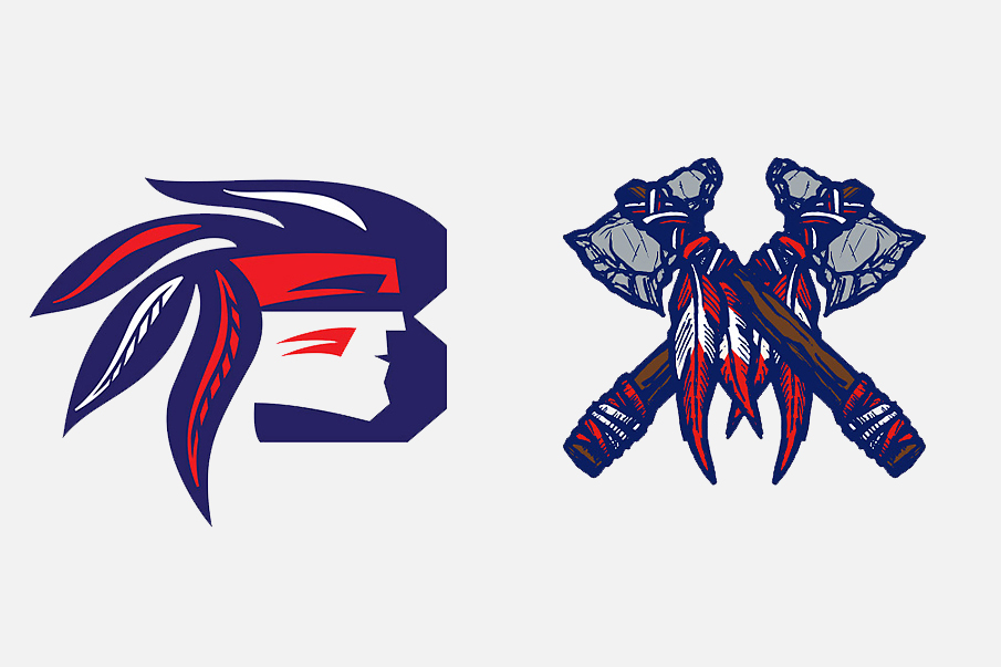 Spokane Braves, Jr. B hockey club logos. On the left: rough idea, on the right: the final emblem