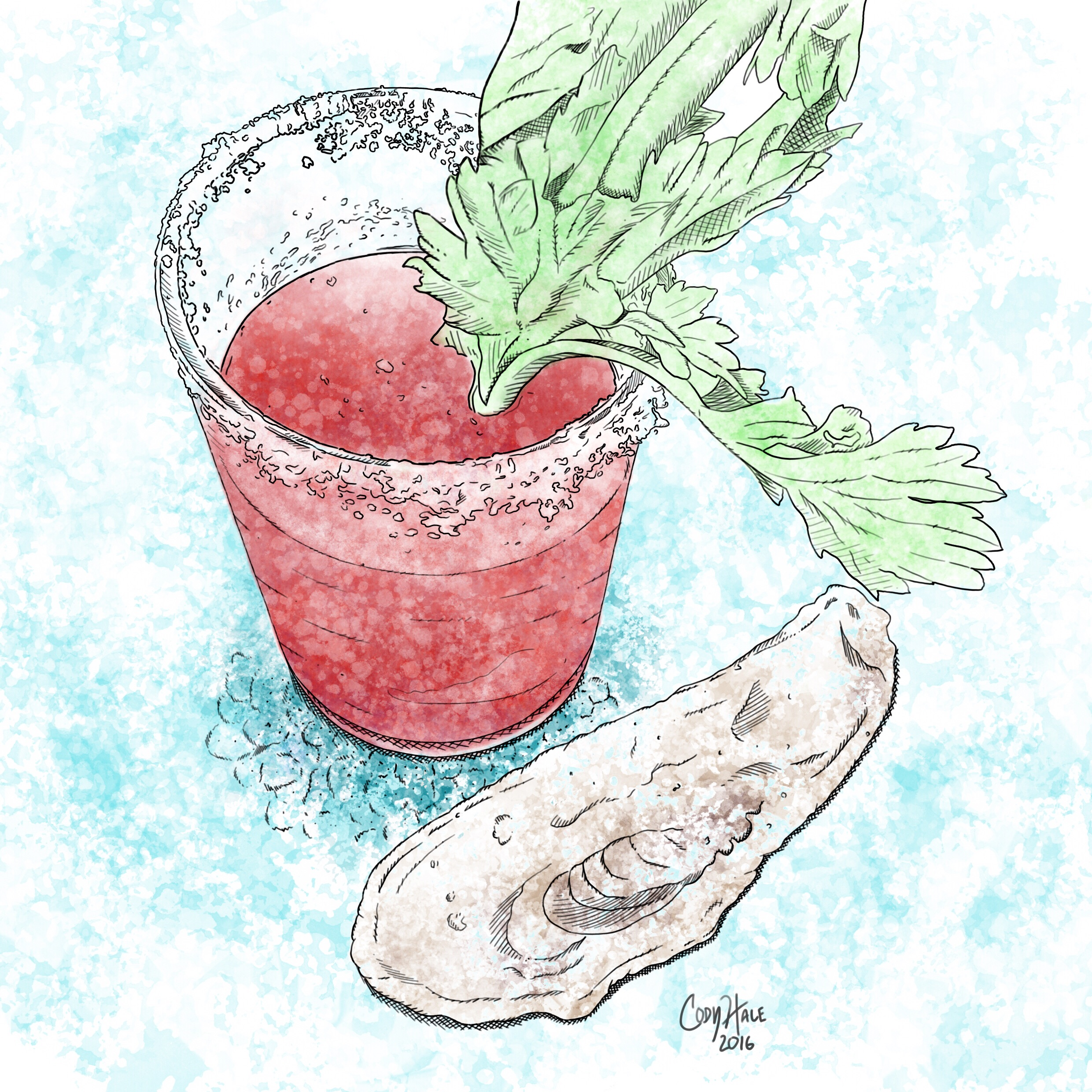 Bloody Mary Oyster Illustration