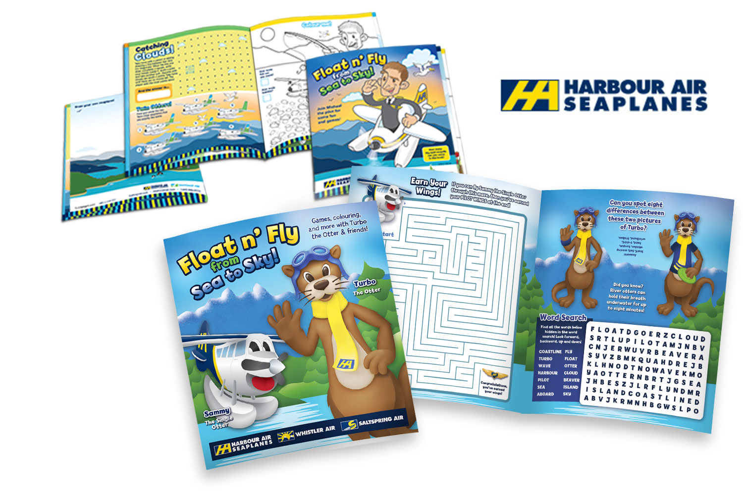 Top: Harbour Air's activity book from 2011. Bottom: Refreshed 2016 activity book featuring new mascots: Turbo and Sammy.