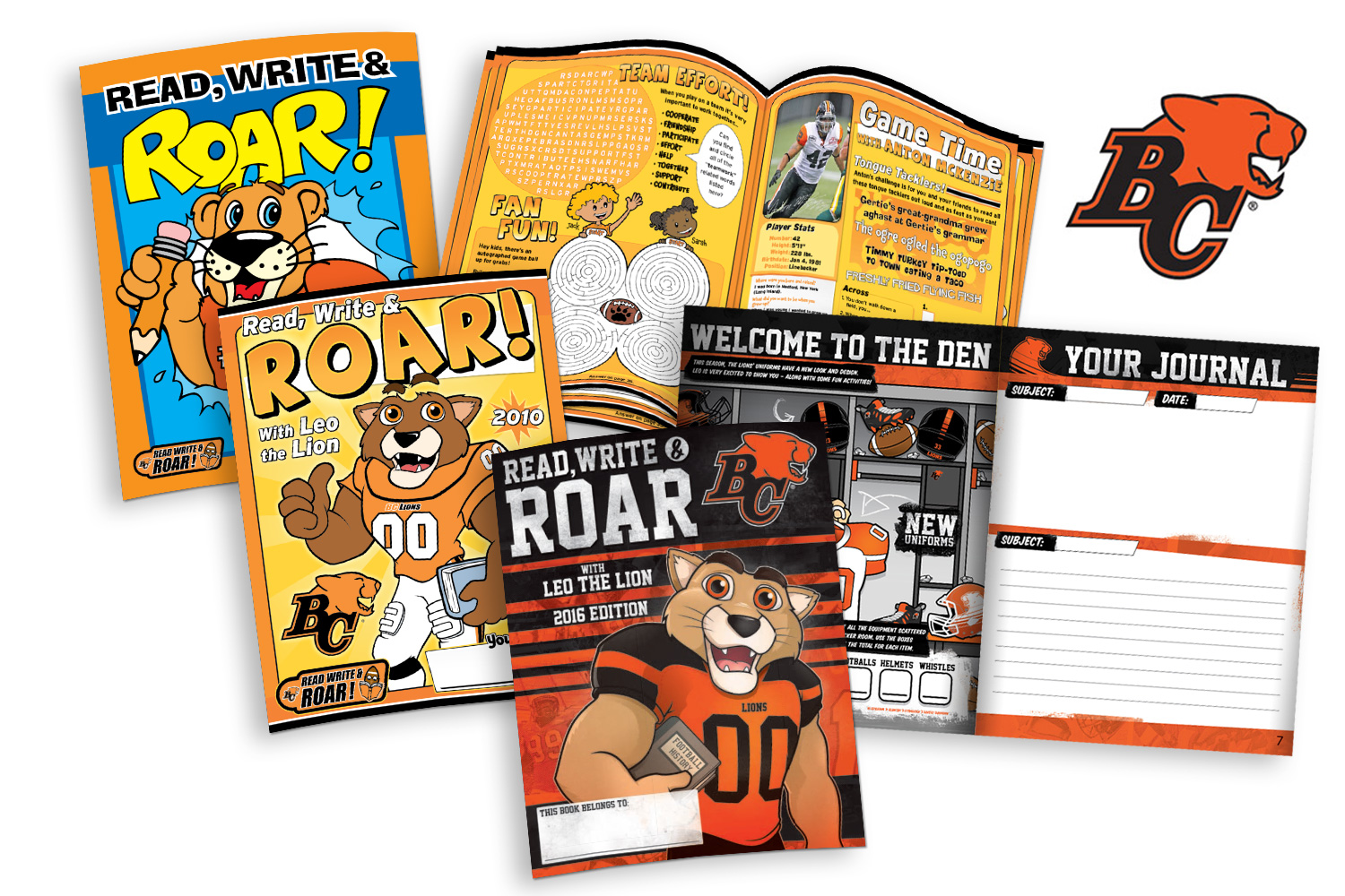 Top to bottom: BC Lions' activity book examples from 2006, 2010, and 2016 show the evolution of their  Read, Write & ROAR!  activity books.