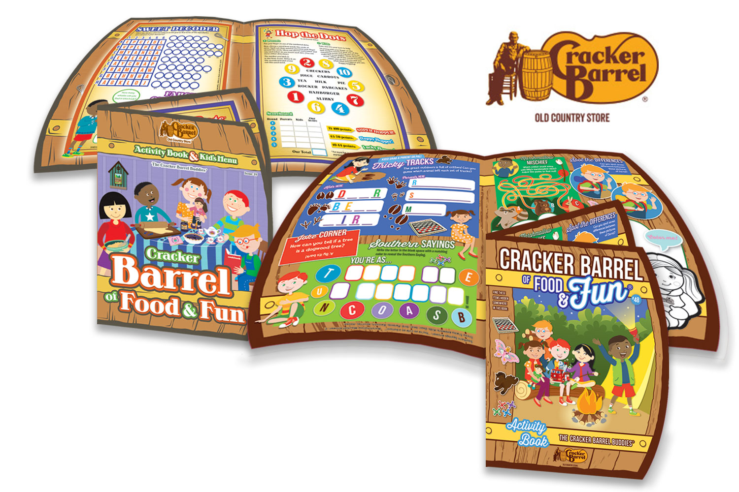 Cracker Barrel's 2016 revamp centred on a character refresh, with a subtle update in overall design.Characters now look more mature and have more detailed features. Games feature more group participation and every issue highlights different Cracker Barrel merchandise from the Cracker Barrel store.