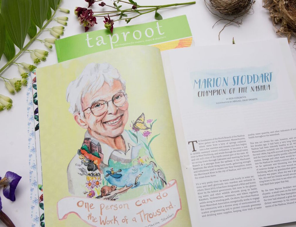 """This past April, the lovely women at Taproot Magazine reached out to ask if I would paint them a portrait of Marion Stoddart for their summer issue """"Grow"""". I was delighted! Marion is an inspiring example of the impact one person can have on their community. Shortly after moving to Massachusetts in the 1960's, Marion was appalled by the state of the Nashua River. The local paper mill was dumping their waste into the river making it toxic and uninhabitable for for wildlife and people. The odor was intense. This was before the days of the EPA or any government regulation. So Marion organized her community and over the next few years they cleaned up the river, regulated the Mill and today the river is teaming with wildlife and recreation.  This was an honor to paint! Marion is a true inspiration."""