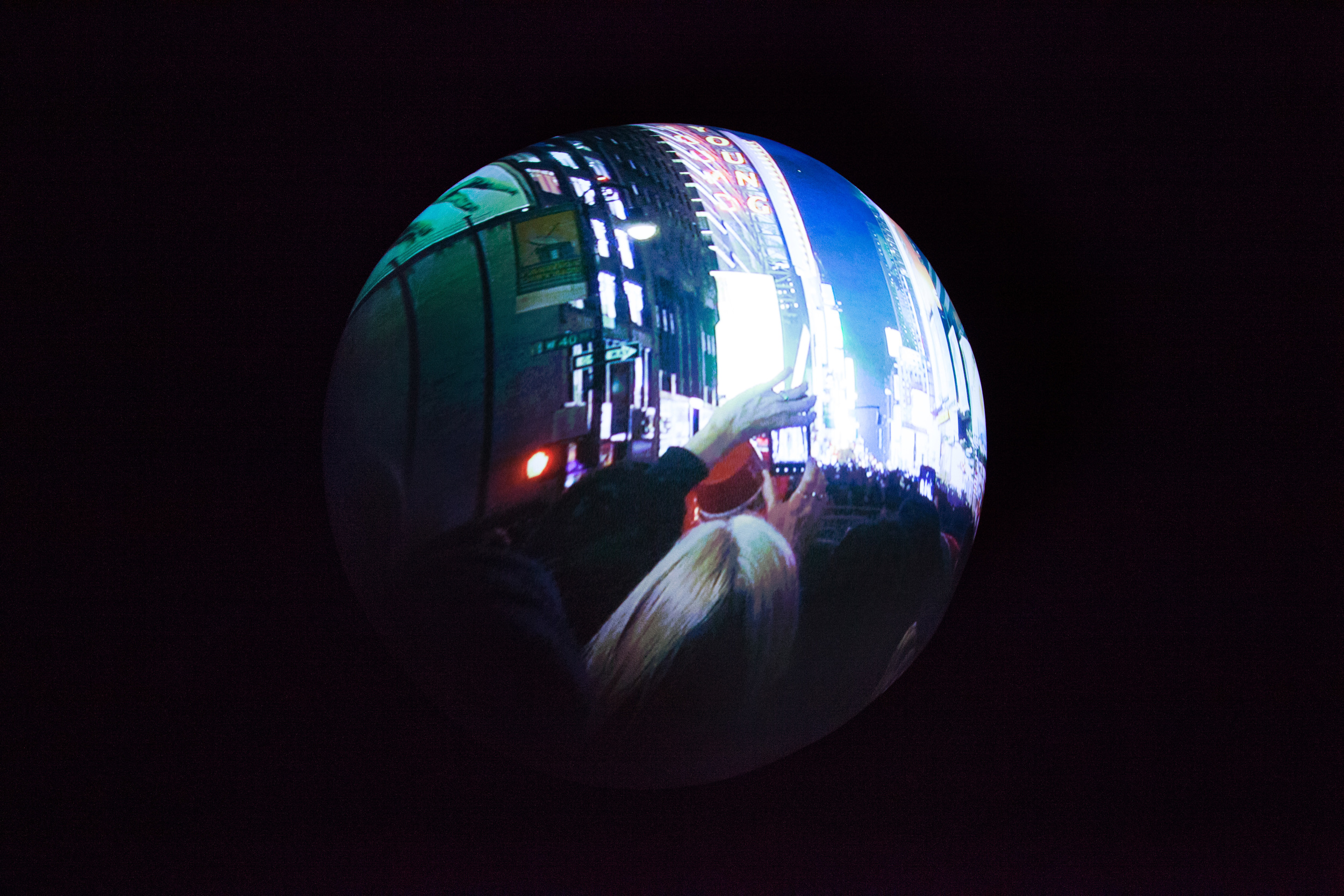 Installation Detail  (Shulamit Gallery, 2014)   Almost Always,  2013 Single Channel HD Video Projection onto Sphere with Sound, TRT 5:20, Looping 36 inch Diameter Sphere