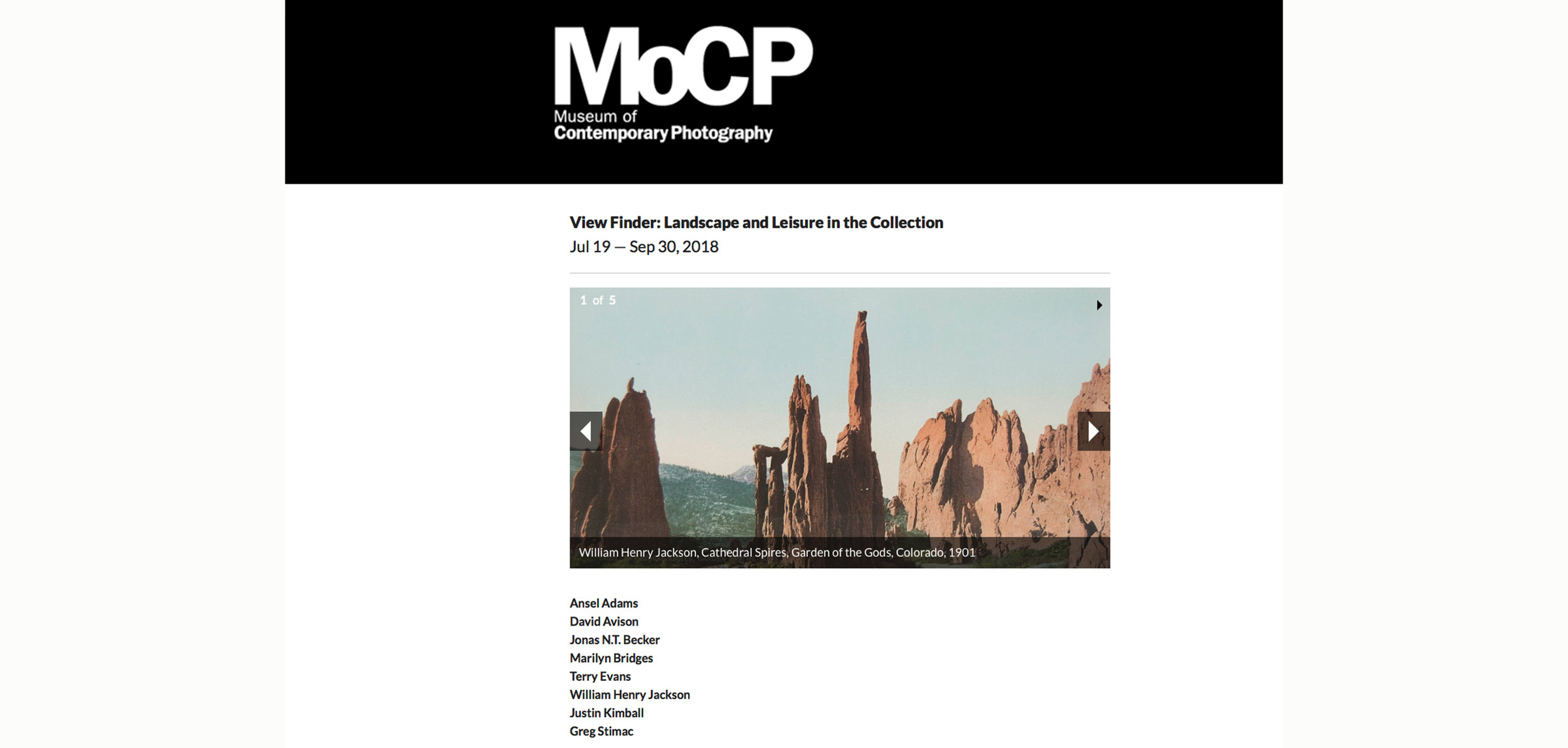 Copy of Upcoming Exhibition at the Museum of Contemporary Photography, Opens July 19, 2018