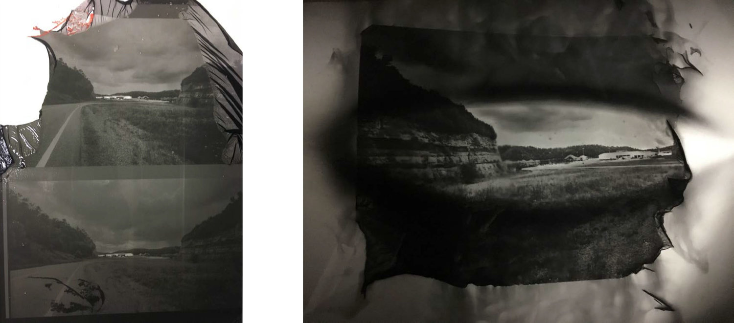Tests of the pigment and transfer process that I will adapt to use for coal printing process.   (left) trouble-shooting transfer process (right) the image developing in water.