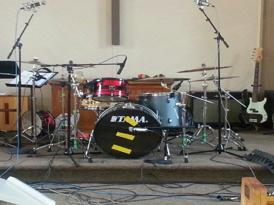 Drum set in a church hall