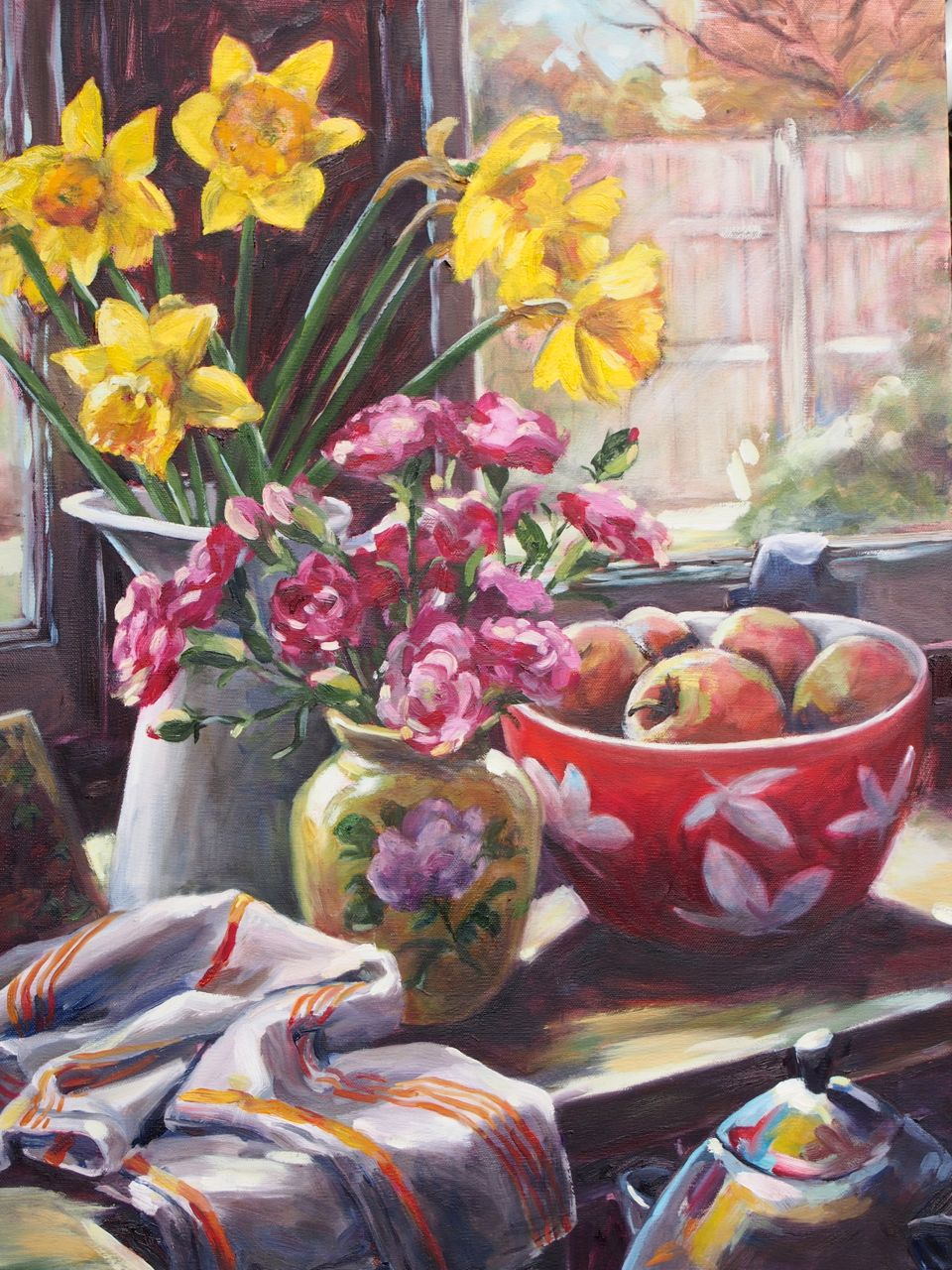 Still Life with Pink Carnations and Daffy's