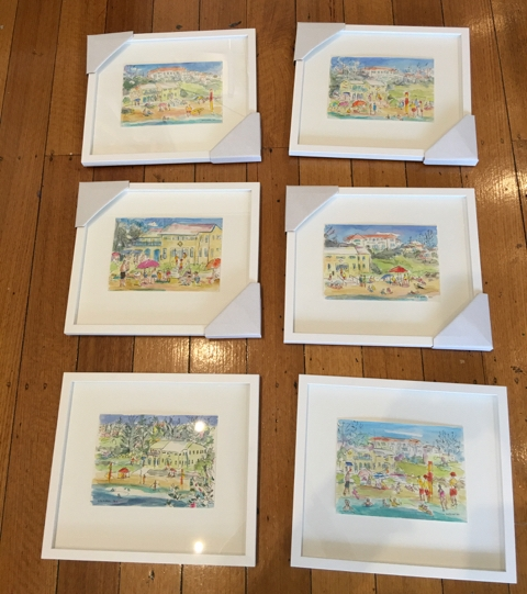 Framed ink and watercolour sketches 2016  300gsm watercolour paper; A5  Sold Out