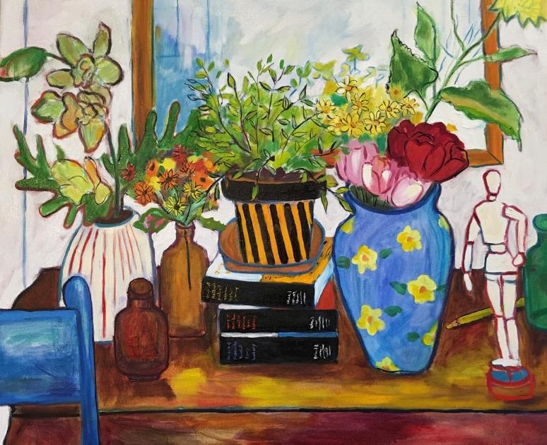 Still Life with Blue Vase  Oil on Canvas  2016  $525