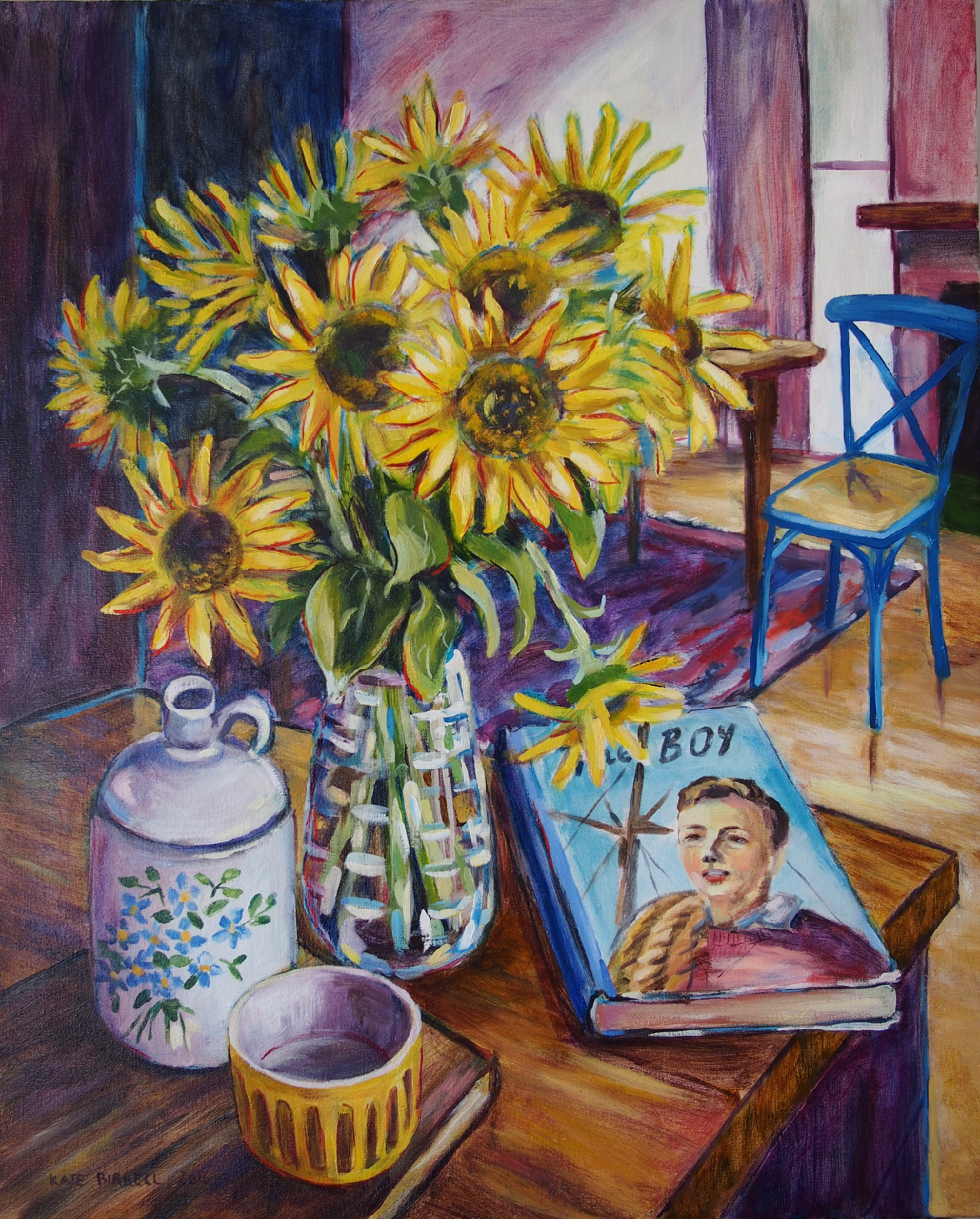 Sunflowers with Old Book and Other Things