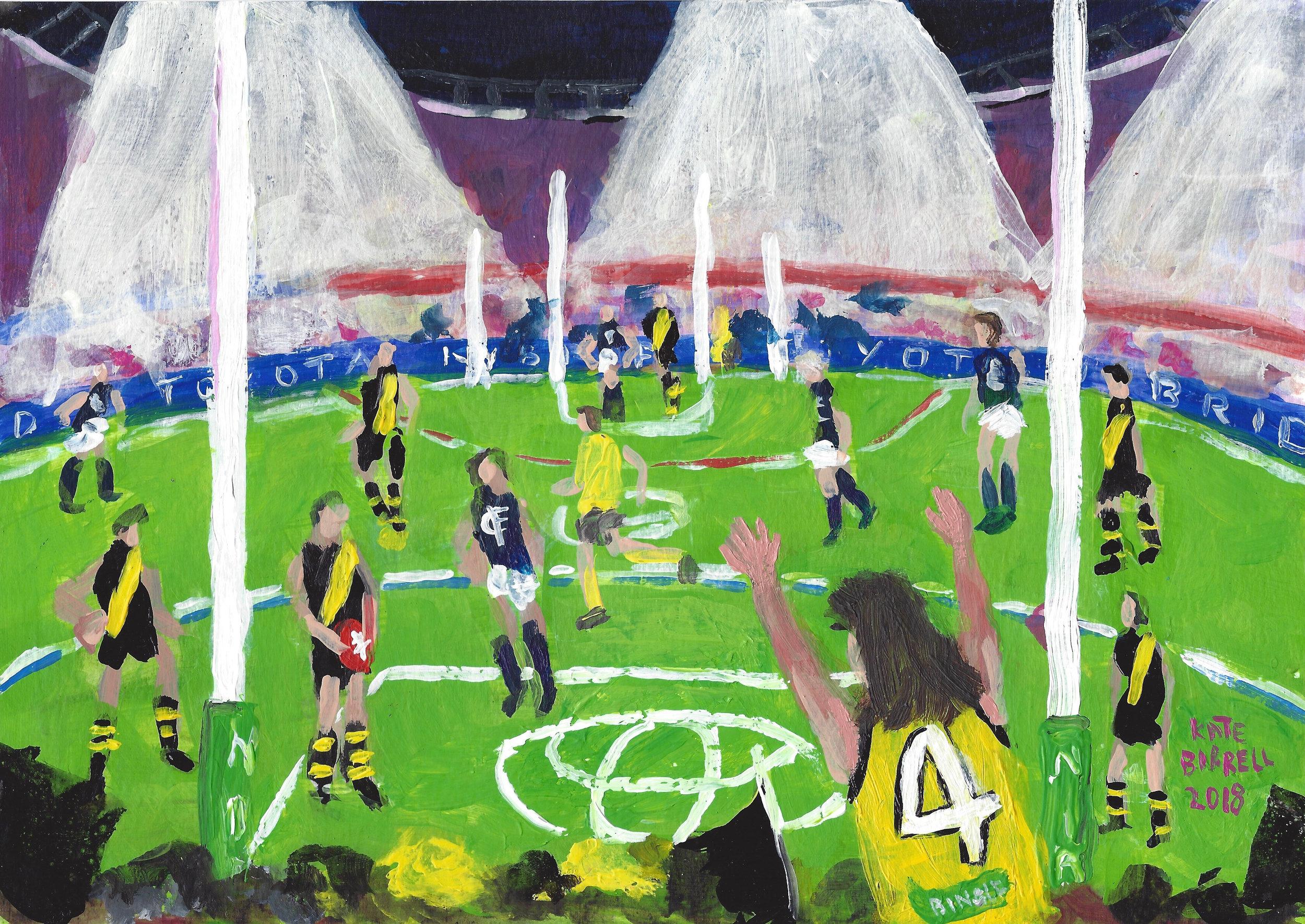 Kick It  acrylic on Paper  A4