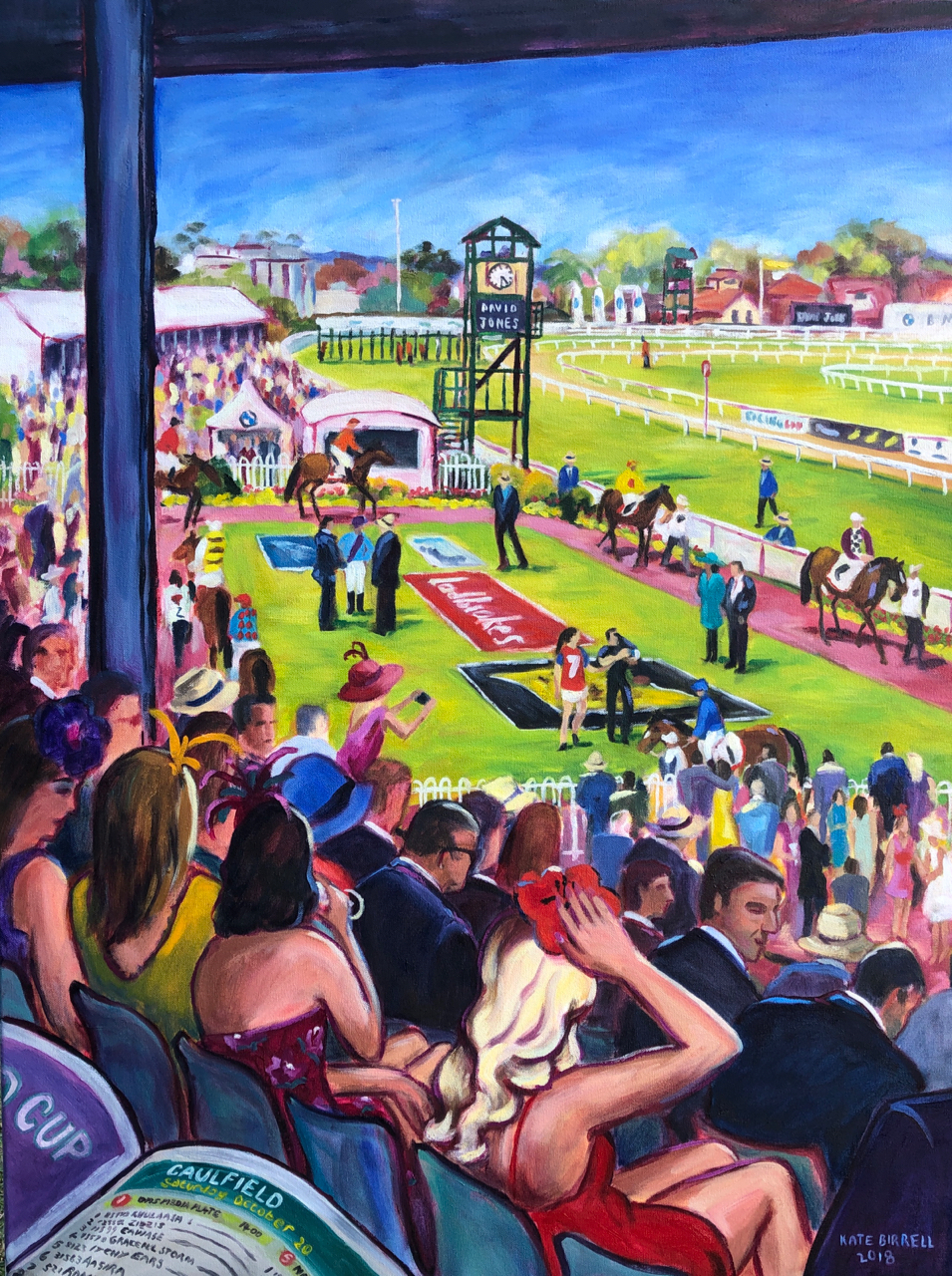 A Day at Caulfield; View over the Mounting Yard (sold)