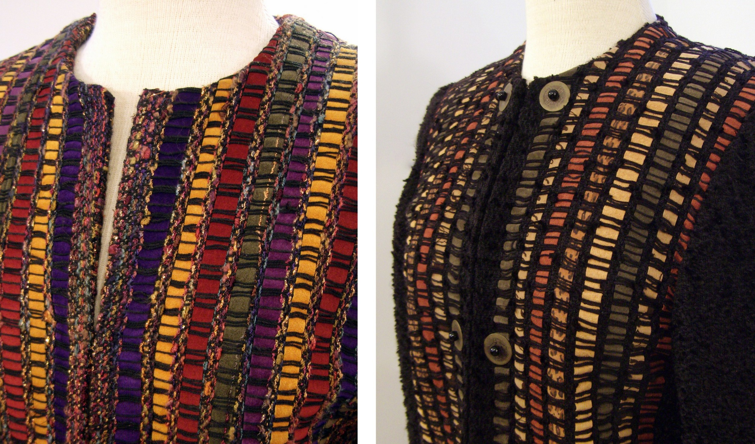 Woven Leather Jackets with Jewel Necklines.