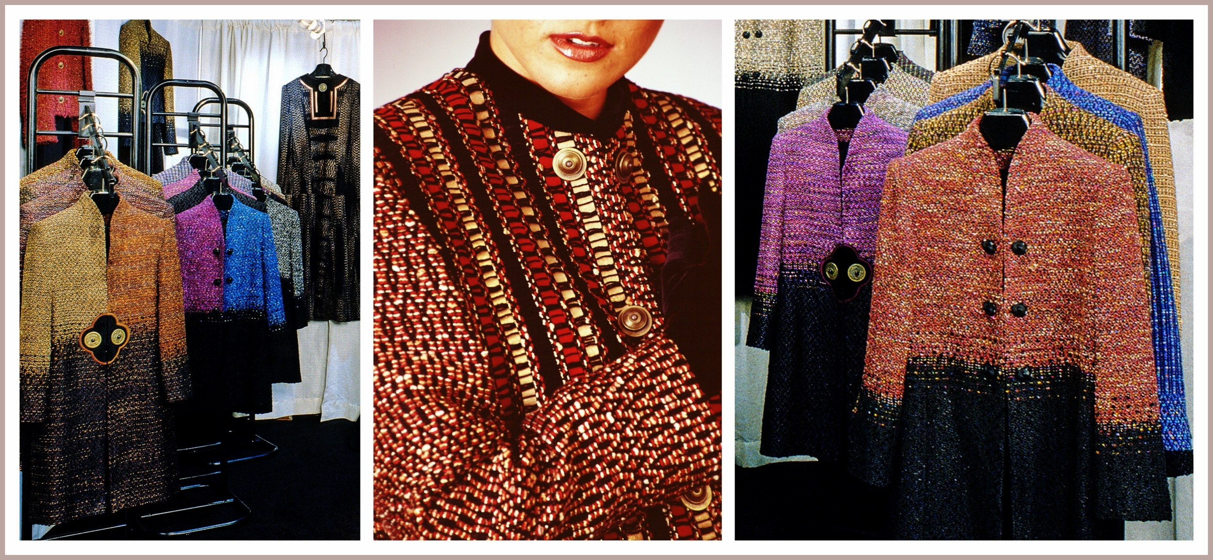 Kathleen's show display and a close look at a Woven Leather Jacket.