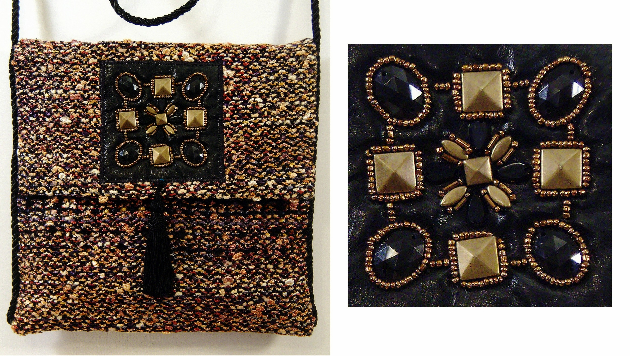 This elegant bag features a custom beaded applique panel and a black satin tassel.