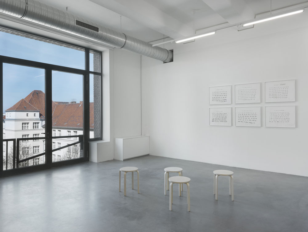 Up And Down , Exhibition view KINDL – Centre for Contemporary Art, Berlin (2 April – 6 August 2017) // Christine Sun Kim:  The Sound of Anticipation, The Sound of Inactivity, The Sound of Being Resigned, The Sound of Laziness, The Sound of Being Spaced Out, The Sound of Apathy , 2016, Courtesy the Artist and Caroll / Fletcher, London; Photo: Jens Ziehe