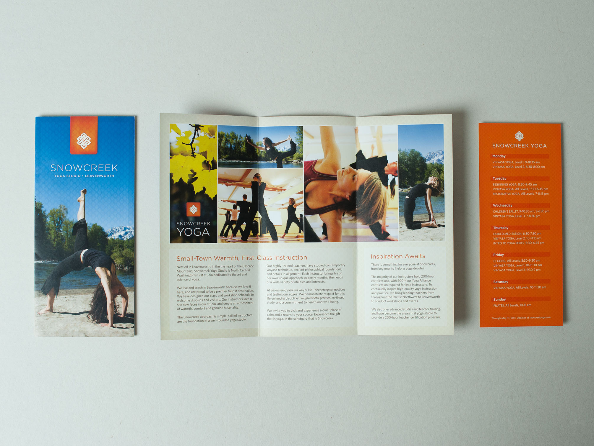 Branding, design, and copywriting. Interior brochure content follows:   —   Small-Town Warmth, First-Class Instruction   Nestled in Leavenworth, in the the heart of the Cascade Mountains, Snowcreek Yoga Studio is North Central Washington's first studio dedicated to the art andscience of yoga.  We live and teach in Leavenworth because we love it here, and are proud to be a premier tourist destination.We have designed our class and workshop schedule to welcome drop-ins and visitors. Our instructors love to see new faces in our studio, and create an atmosphere of warmth, comfort and genuine hospitality.  The Snowcreek approach is simple: skilled instructors are the foundation of a well-rounded yoga studio.  Our highly-trained teachers have studied contemporary vinyasa technique, ancient philosophical foundations, and details in alignment. Each instructor brings his or her own unique approach, expertly meeting the needs of a wide variety of abilities and interests.  At Snowcreek, yoga is a way of life – deepening connections and testing our edges. We demonstrate respect for this life-enhancing discipline through mindful practice, continued study, and a commitment to health and well-being.  We invite you to visit and experience a quiet place of calm and a return to your source. Experience the gift that is yoga, in the sanctuary that is Snowcreek.  —   Inspiration Awaits   There is something for everyone at Snowcreek, from beginner to lifelong yoga devotee.  The majority of our instructors hold 200-hour certifications, with 500-hour Yoga Alliancecertification required for lead instructors. To continually inspire high-quality yoga instruction and practice, we bring leading teachers from throughout the Pacific Northwest to Leavenworth to conduct workshops and events.  We also offer advanced studies and teacher training, and have become the area's first yoga studio to provide a 200-hour teacher certification program.